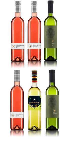Set of young wines